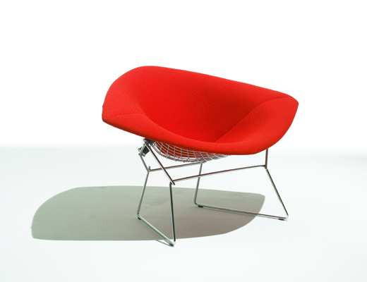 Large Harry Bertoia Diamond Chair with Catp red KnollTextiles upholstery seat cover
