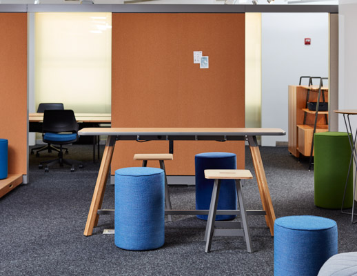 neocon 2018 rockwell unscripted tall tables upholstered seats easy stools shared spaces hospitality at work