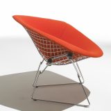 Large Bertoia Diamond Chair in Cato red KnollTextiles seat cover profile view