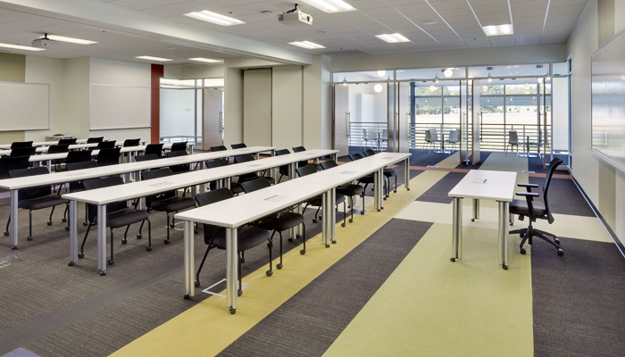 Flexible classroom with Propeller Training Tables® and EWC Tech™ Side Chairs