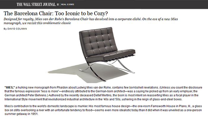 The Wall Street Journal Celebrates The Iconic Barcelona® Chair, Which Has  Been Produced By Knoll Since 1948.