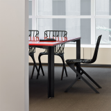 LSM Table with Washington Skeleton Aluminum Side Chair David Adjaye meeting room conference table