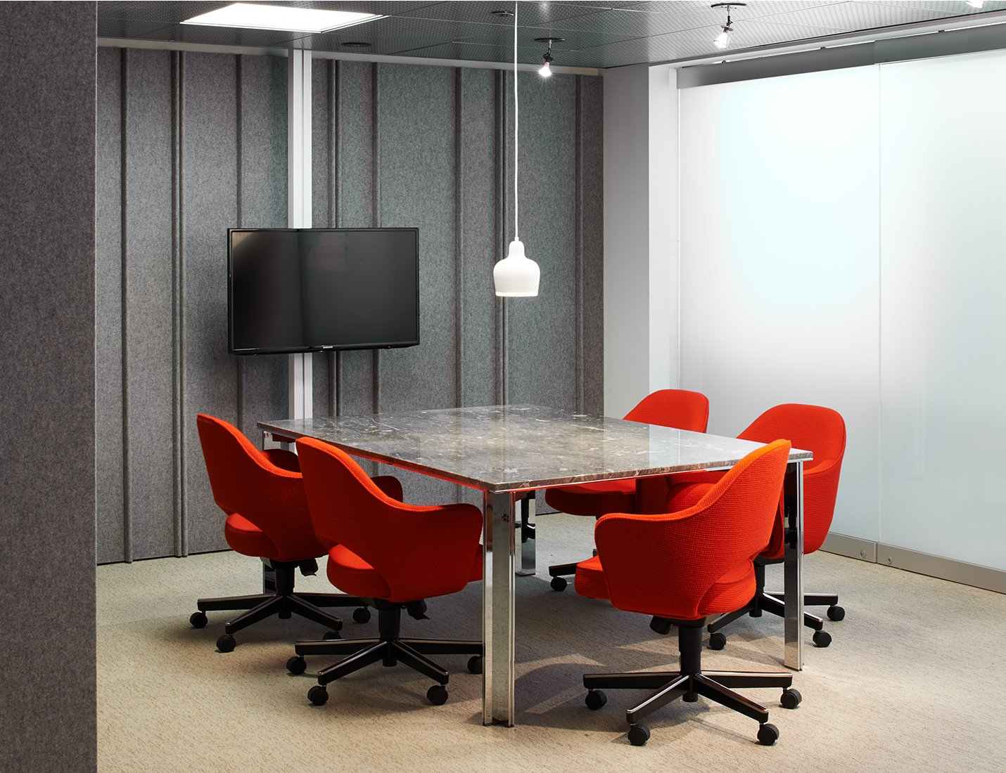 LSM Conference Table Series With LLeg Knoll - Red conference table