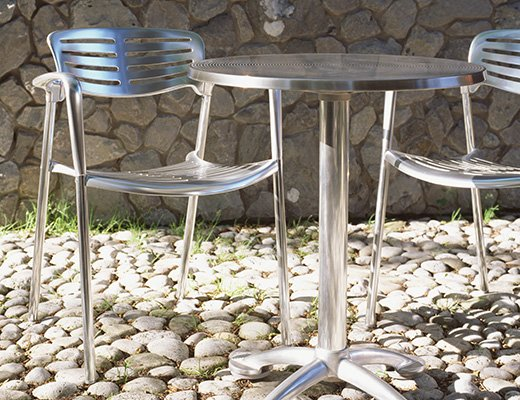Toledo Stacking Chair, Pensi Round Cafe Table