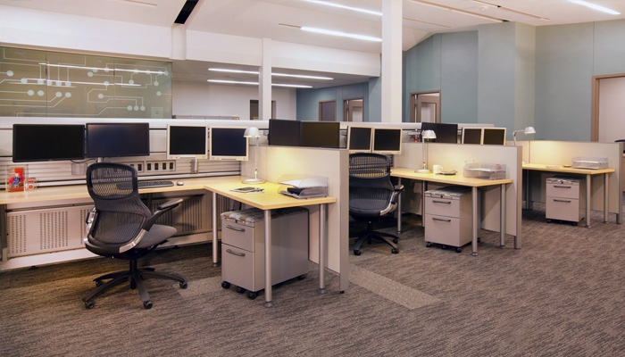 Currents® Service Wall with Upstart® Tables, Generation by Knoll® Task Chairs and Copeland Light™