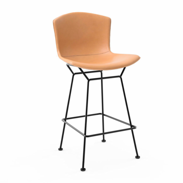 Bertoia Leather‑Covered Barstool - Counter Height