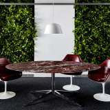 neocon 2018 hospitality at work forence knoll table desk saarinen tulip arm chairs edelman leather