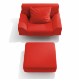 Cini Boeri Lounge chair and Ottoman in red KnollTextiles Poppy felt upholstery
