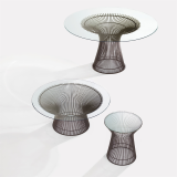 Platner Dining Table and Side Tables with bronze finish and glass top