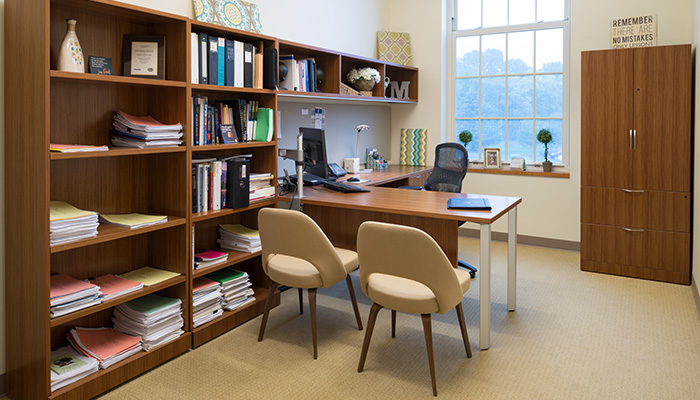 Faculty office with Reff Profiles™, AutoStrada®, Generation by Knoll® and Saarinen Executive Chairs