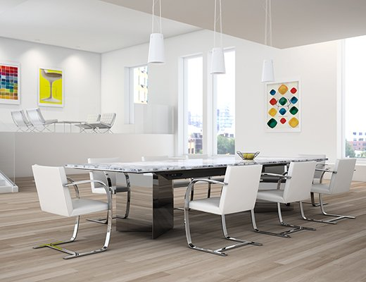 LSM Conference Table Series VBase Knoll - White marble conference table