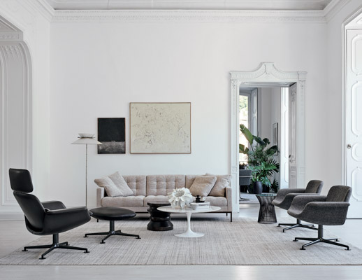 kn01 swivel lounge chair low back kn02 high back lounge chair kn03 ottoman fabric leather piero lissoni  eero saarinen saarinen coffee table marble white base