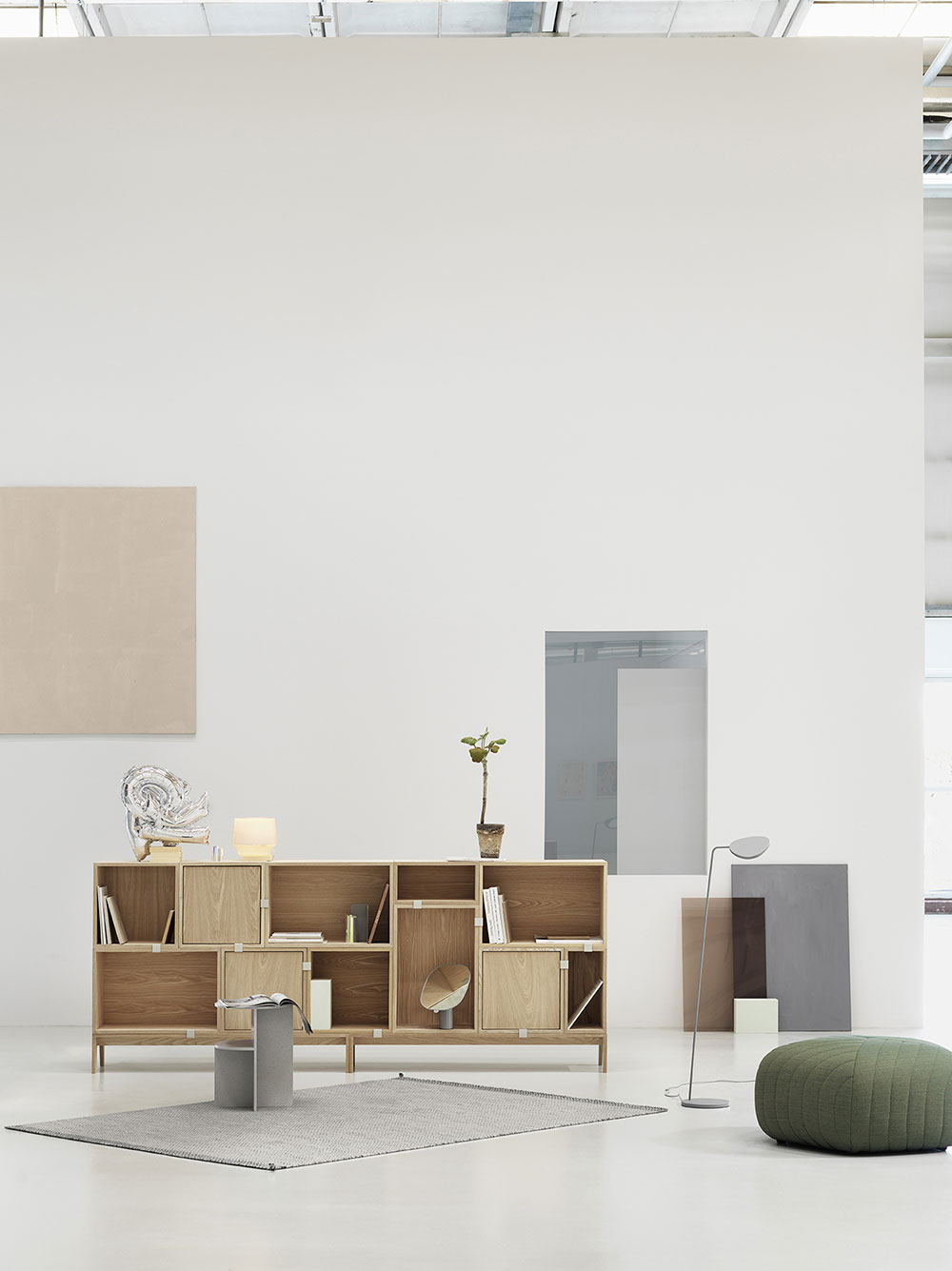Muuto Stacked Storage with Five Pouf & Leaf Lamp & Halves Table