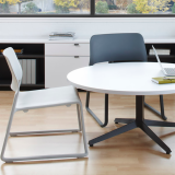 "Dividends Horizon 21"" high X base table with Spark lounge chairs"