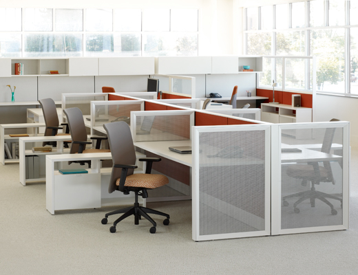 Dividends Horizon open plan office with open weave screens