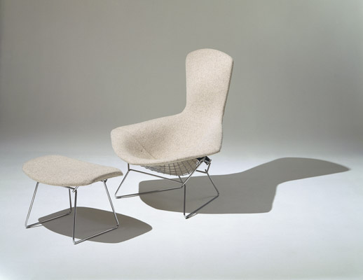 Bertoia Bird Chair and Ottoman with white cover
