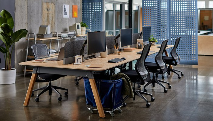 Rockwell Unscripted Rockwell Unscripted Sawhorse Workbench and ReGeneration by Knoll® Task Chairs