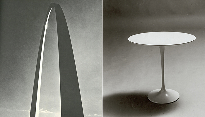 Left: Gateway Arch, 1965. Right: Saarinen Side Table, 1958.