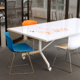 Krusin Pixel Y-Fold Training Table Markerboard Top Bertoia Molded Shell Side Chair