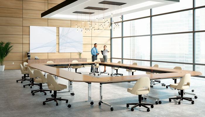 Pixel™ Tables with Saarinen Executive Chairs