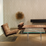 NeoCon 2015 waiting area Activity Space Ludwig Mies van der Rohe Harry Bertoia Frank Gehry Spinneybeck Leather wallcovering Barcelona Collection Barcelona Chair Barcelona Table Barcelona Couch day bed