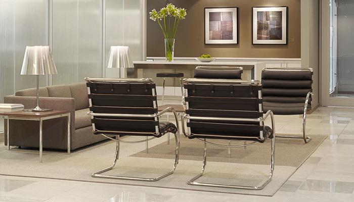 Waiting Area With MR Lounge Chairs, Pfister Sofa And Florence Knoll End And  Coffee Tables