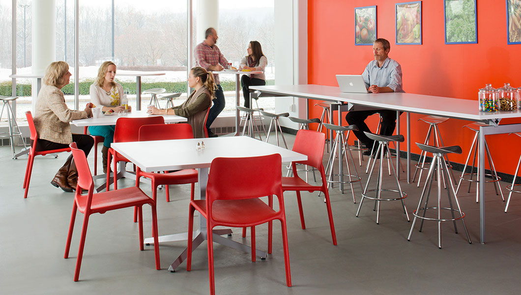 Knoll Shared Spaces Community Space With Spark Series Side Chairs and Dividends Horizon Tables
