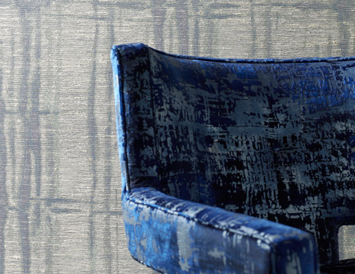 KnollTextiles renaissance collection metallic sheen screen printed Chiseled 90000 double rubs high performance luxurious hospitality specialty wallcovering Tandem upholstery blue pattern texture large-scale organic paper backing paper backed