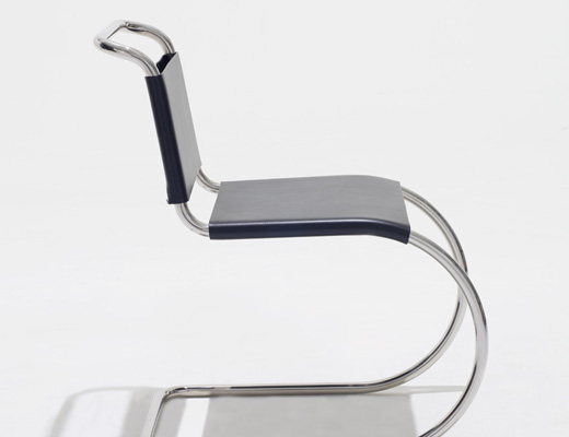 MR Side Chair with black cowhide and stainless steel frame