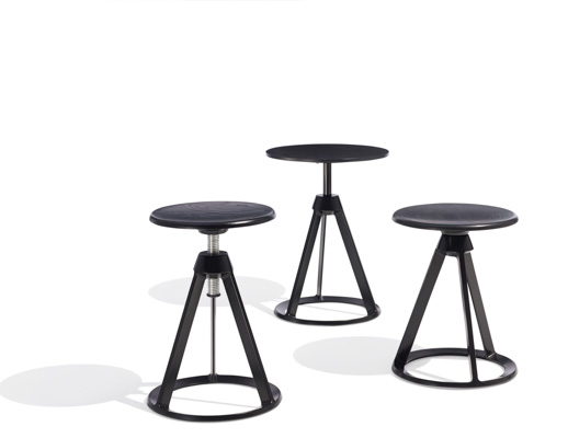 Barber Osgerby Piton™ Stools Side Table Black Adjustable Height Stool adjustable-height