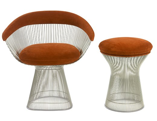 Warren Platner Lounge Chair and Stool in brown upholstery