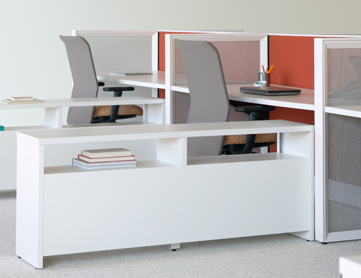 Dividends Horizon credenza storage system and open weave screens
