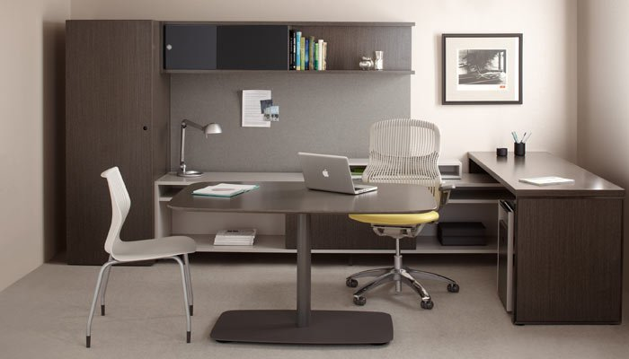 strong horizontal lines and legs that elevate storage off of the floor complete the progressive look