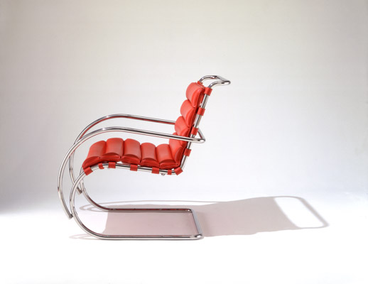 Knoll red leather Mies MR Lounge Chair