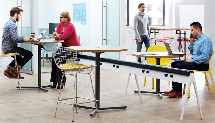 Horsepower® Bench with Antenna® Y Base Tables, Bertoia Barstools and Olivares Aluminum Chairs