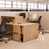 knoll essentials refined focus laminate fronts wood grain laminate personal storage filing cubby bin smoked Glass Add Ups task chair task light efficient planning combination pedestal desktop stacker