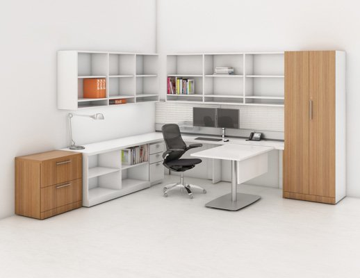 Reff Profiles private office with double height open shelves overhead with exposed cubby sliding table