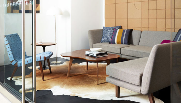 Rockwell Unscripted® Modular Lounge with Risom Lounge Chair and Coffee Table