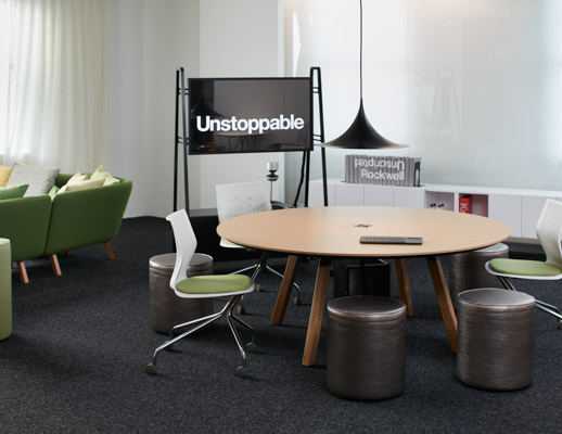 neocon showroom 2017 rockwell unscripted round table multigeneration by knoll formway designs swivel stools modular lounge immersive planning unscripted console
