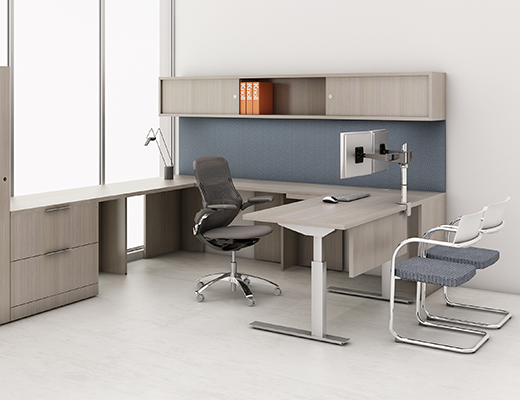 Knoll Sit to Stand Tone Height-Adjustable Tables with Reff Profiles Private Office