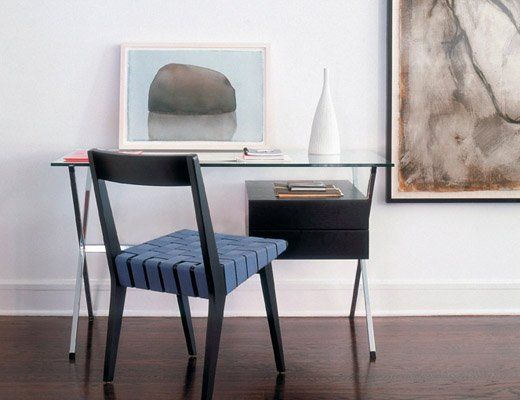 Albini Desk with Ebonized oak pedestal and Chadwick chair