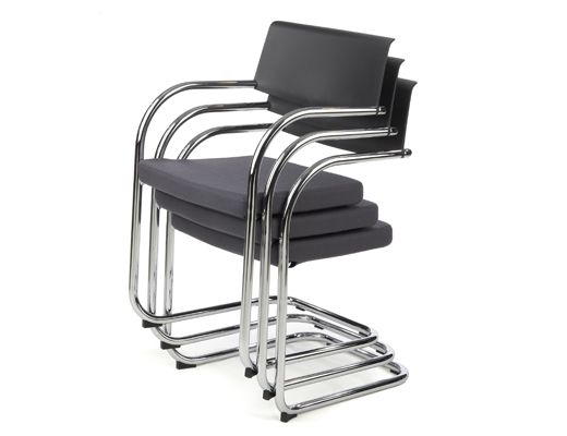 Knoll black Moment Side Chairs stacked