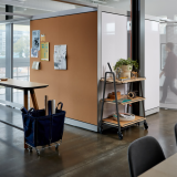 rockwell unscripted creative wall cork markerboard analog communication team meeting perforated steel fixed fin pivot fins portal room tall table drink rail mobile soft storage bin canvas bin hospitality cart mobile storage