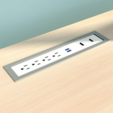 Drop-In Electrical Outlet, 412, White Body/Silver Bezel, power, module, inset