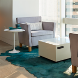 Krefeld lounge chair KnollExtra Power Cube Saarinen side table Edelman Kyle Bunting rug refuge focus shared spaces