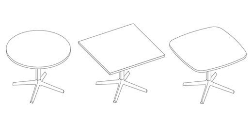 Dividends Horizon X Base Tables Knoll - Cafe table and chair dimensions