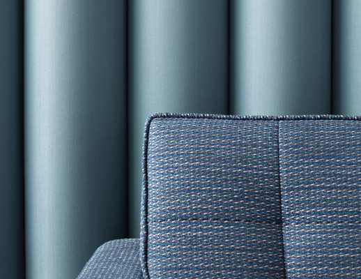 The Hallmark Collection KnollTextiles Installation Acne Calypso Laguna Isle 100% Vinyl Coated Polyester polyester high-performance multi-use noelty yarn warm neutrals blue lines Stain Repellent Microban