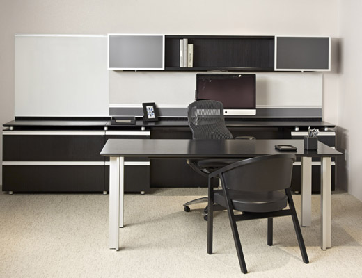 AutoStrada Private Office with Shelton Mindel Wood Guest Chairs