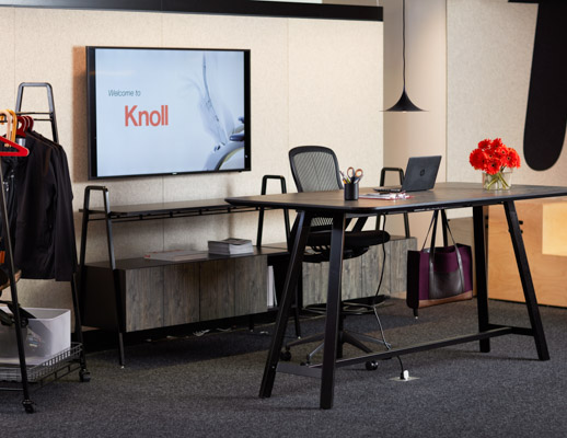 neocon 2017 chicago showroom rockwell tall tables coat rack console steps immersive planning regeneration by knoll high task