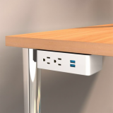 Table Undermount Electrical Outlet, 210, White Body/White Bracket